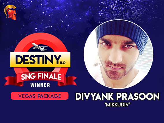 Divyank Prasoon wins the Destiny 11.0 SnG Finale