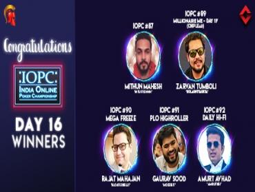 IOPC Day 16: Zarvan Tumboli leads Millionaire ME Day 1F