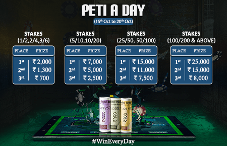 Now win from 1L daily in PokerDangal's 'Peti a Day' promo