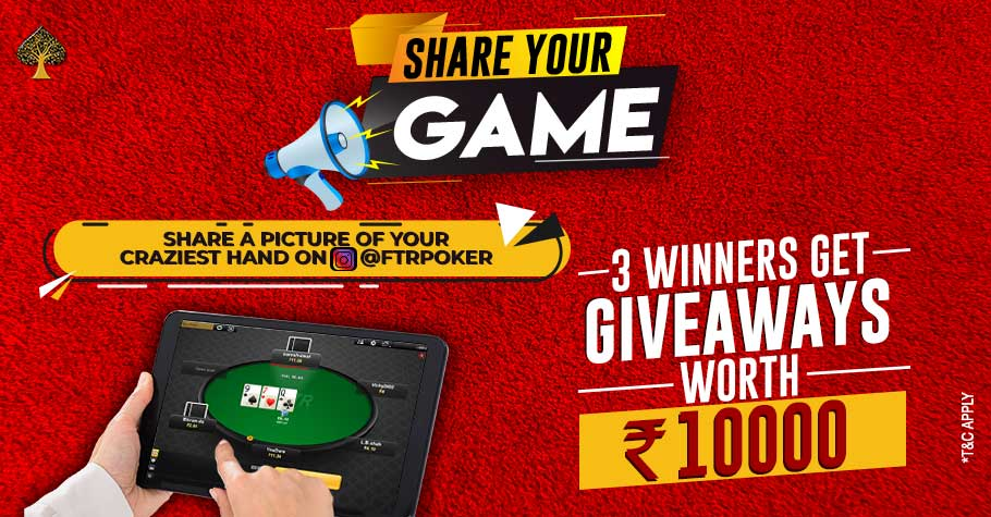 Win up to INR 10K giveaway on FTRpoker!