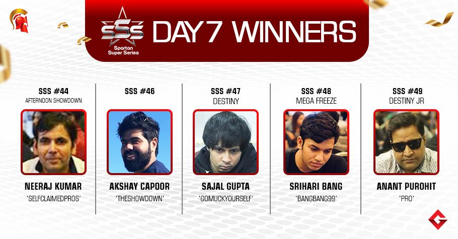 SSS Day 7: Kumar, Capoor, Gupta, Bang, Purohit win big