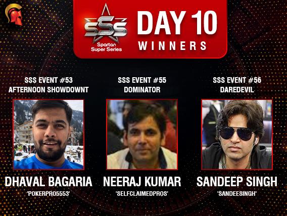 SSS Day 10: Bagaria, Kumar, Singh among title winners.