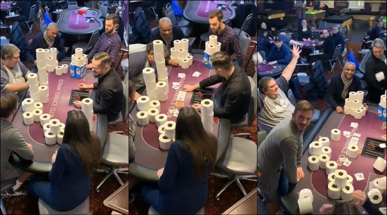 Watch: High stakes poker being played with toilet rolls