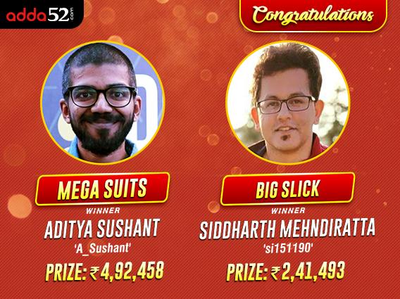 Aditya Sushant, Siddharth Mehndiratta win on Adda52 Sunday