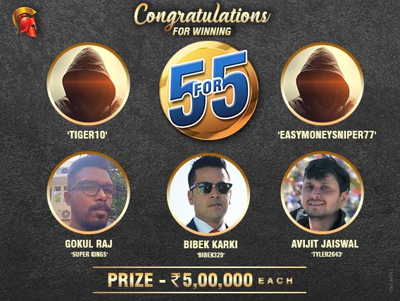 Gokul Raj, Bibek Karki, Avijit Jaiswal win 5For5 on Spartan