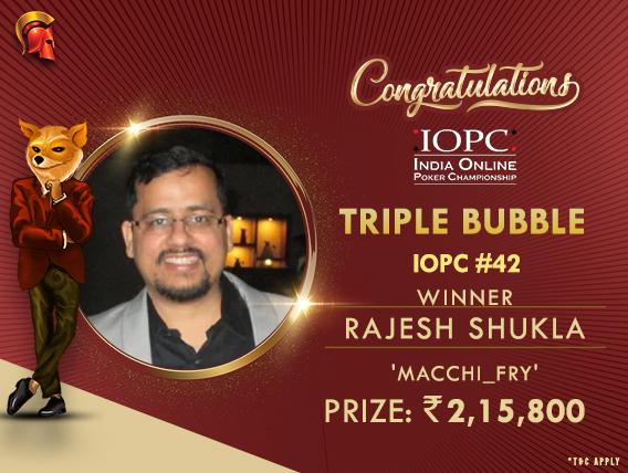 IOPC Day 8: Rajesh Shukla wins Triple Bubble in 5-way deal