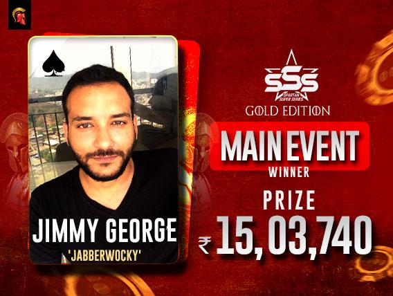 Jimmy George wins prestigious SSS Gold Edition Main Event