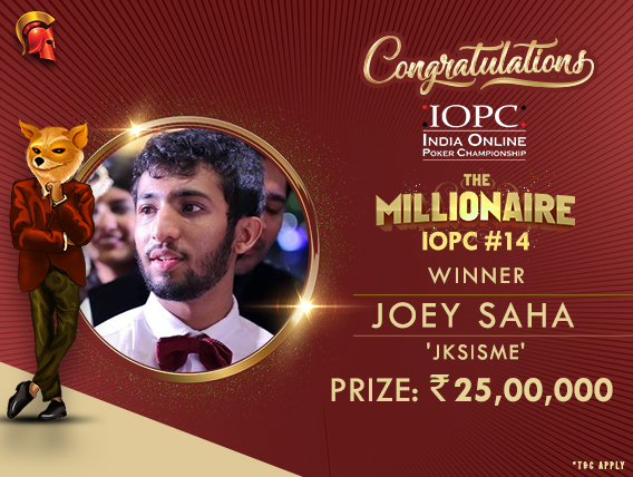 Joey Saha wins 25L in IOPC The Millionaire