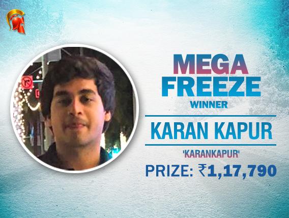 Karan Kapur wins Mega Freeze for 1.17L after 4-way deal