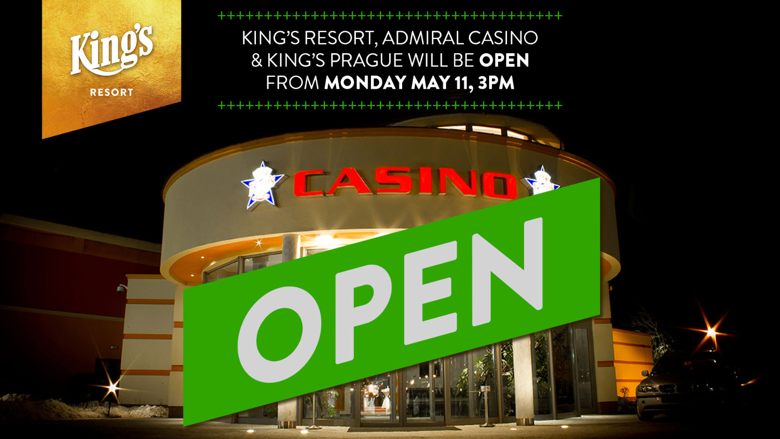 King's Resort Rozvadov and King's Casino Prague reopens on 11 May