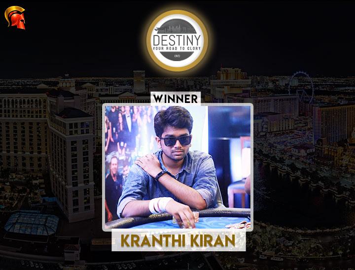 Kranthi Kiran is The Ninth Destiny Winner on Spartan