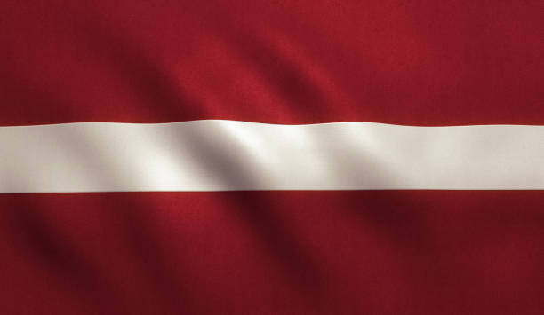 Latvia flag background with fabric texture.