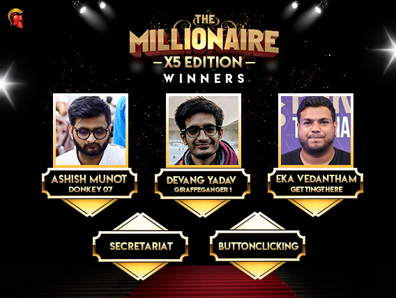 5 winners won INR 10 Lakh each in Millionaire X5 on Spartan Poker.