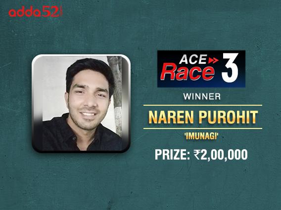 Naren Purohit wins Adda52 Ace Race III Leaderboard