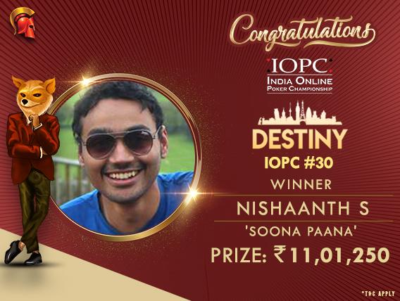 Nishaanth Shanmughasundaram wins IOPC Destiny