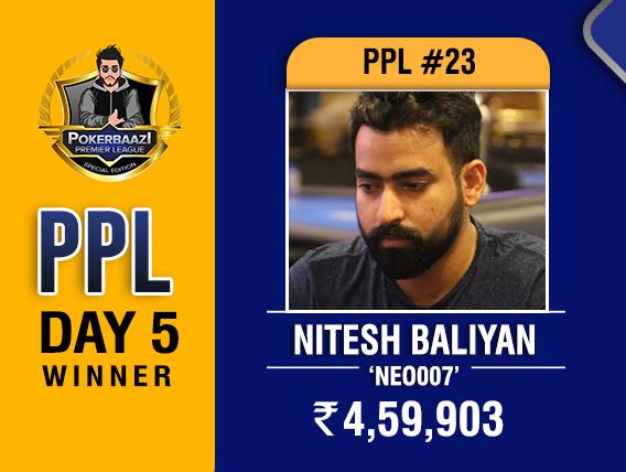 Nitesh Baliyan among title winners on PPL Day 5