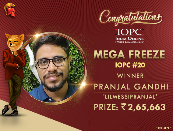 Pranjal Gandhi wins Mega Freeze on IOPC Day 4