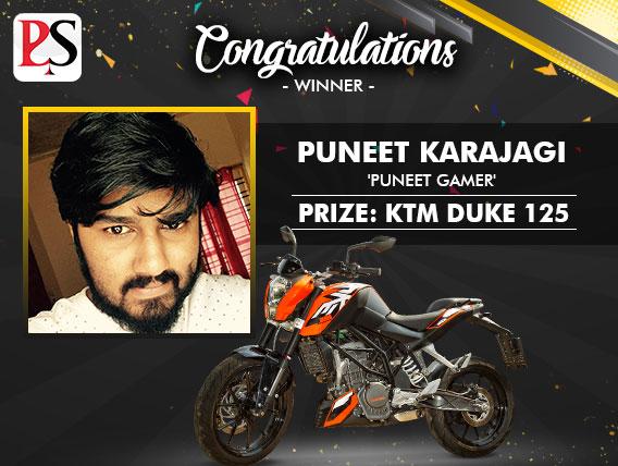 Puneet Karajagi wins KTM Duke in latest PokerSaint promo