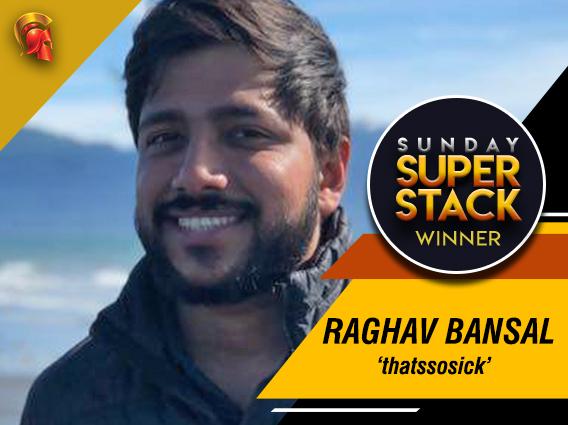 Raghav Bansal wins last night's Sunday SuperStack on Spartan