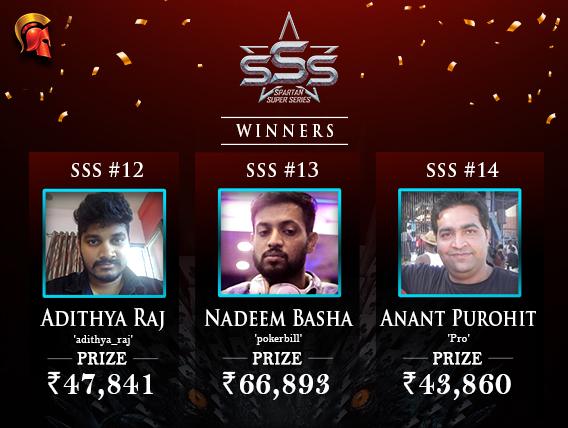 Raj, Purohit, Basha among winners on SSS Day 3