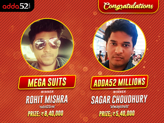 Rohit Mishra tops Mega Suits; Sagar Choudhury wins Millions
