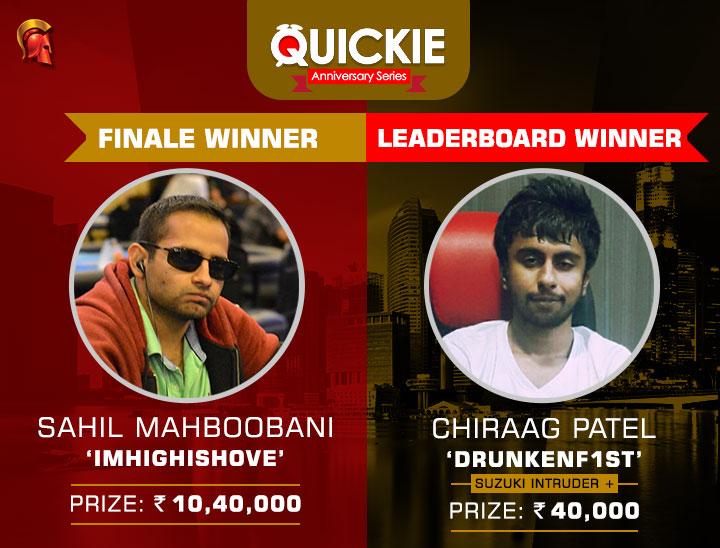 Sahil Mahboobani wins Quickie FINALE, Chiraag Patel tops leaderboard