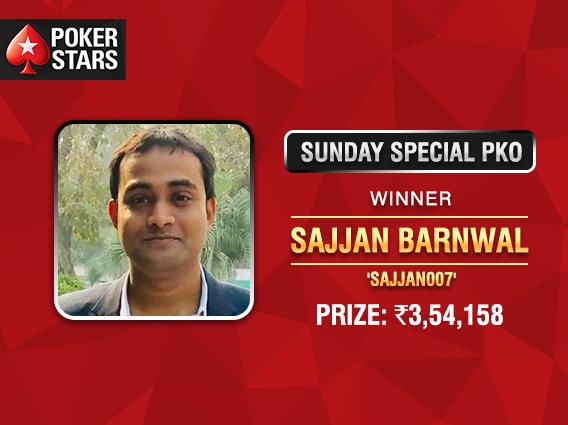 Sajjan Barnwal victorious in PokerStars Sunday Special