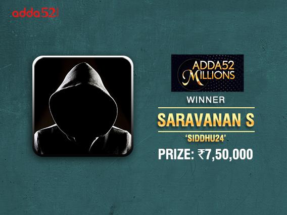 Saravanan S wins consecutive Adda52 Millions titles