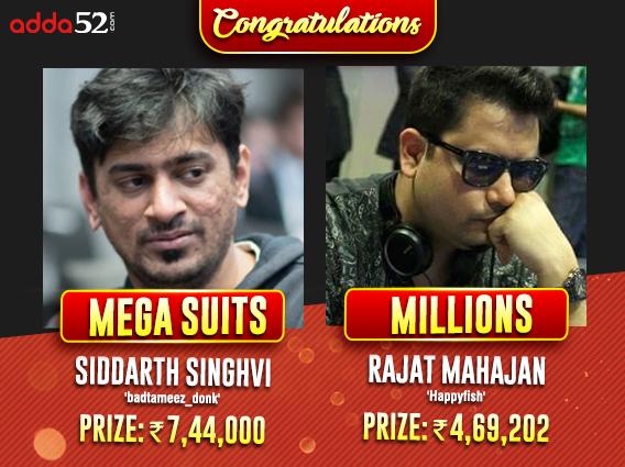 Siddarth Singhvi, Rajat Mahajan win big on Adda52 Sunday