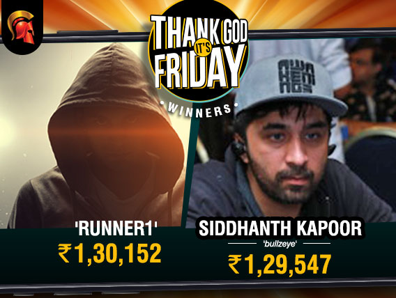 Siddhanth Kapoor and Runner1 share spoils in Spartan's TGIF