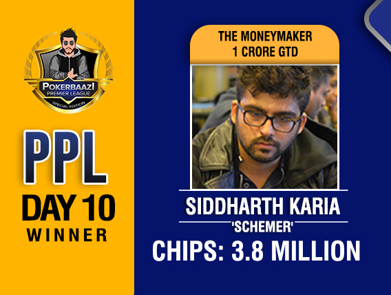 Siddharth Karia leads the final table of PPL MoneyMaker