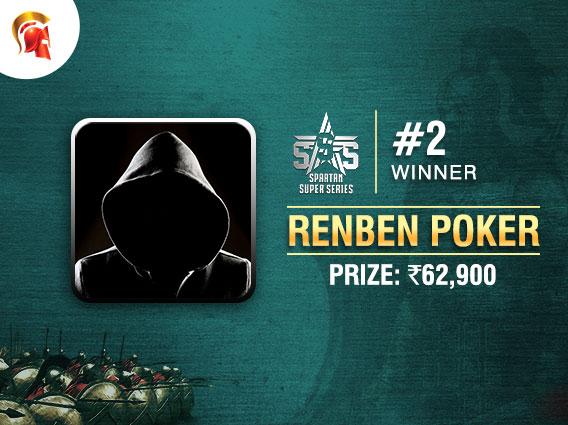 Spartan's SSS Event #2 goes to 'Renben Poker'