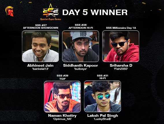 Sriharsha D leads SSS Millionaire Day 1A; other winners declared