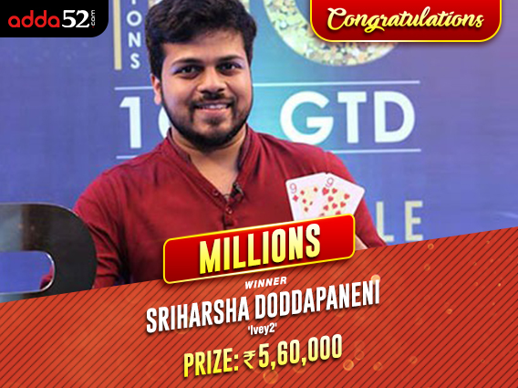 Sriharsha Doddapaneni conquers Adda52 Millions