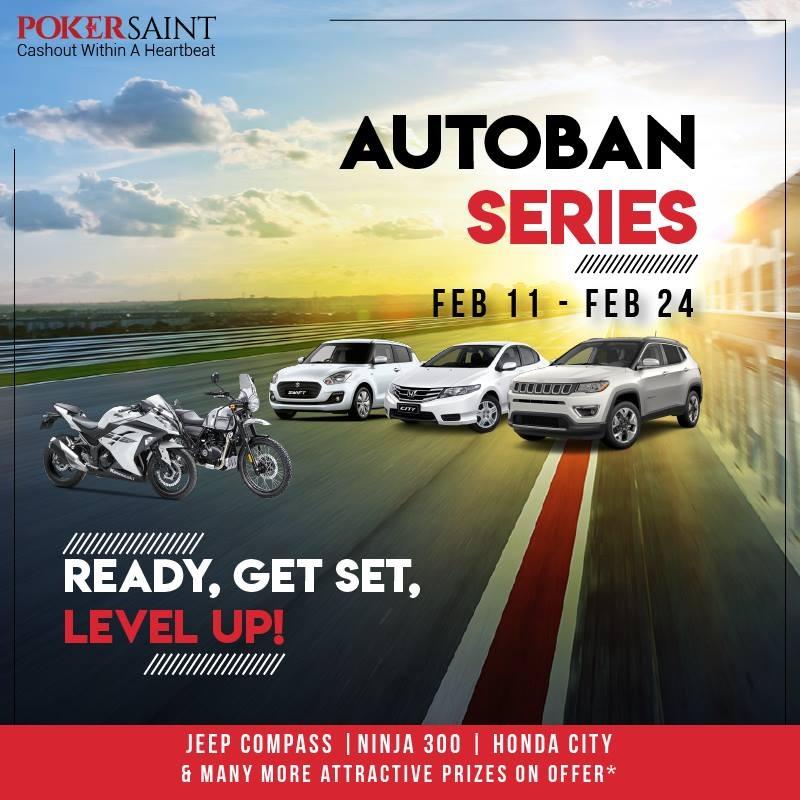 Stylish vehicles to be won in PokerSaint's 'AUTOBAN' series!