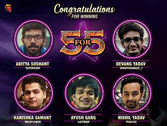 Sushant, Devang, Samant, Garg, Nikhil win September 5FOR5