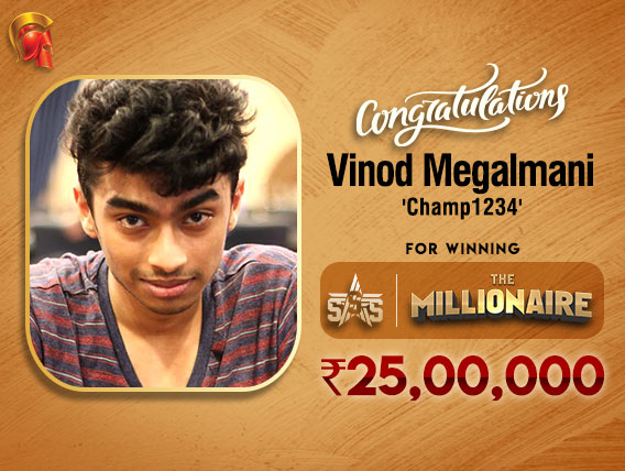 Vinod Megalmani is December Millionaire Champion on Spartan!