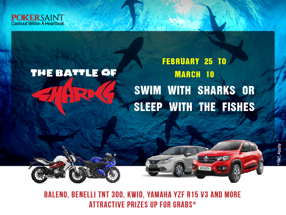 Win top cars, bikes in PokerSaint's Battle of the Sharks