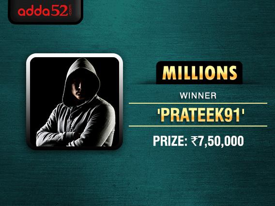 'prateek91' ships Adda52 Millions for INR 7.5 lakh