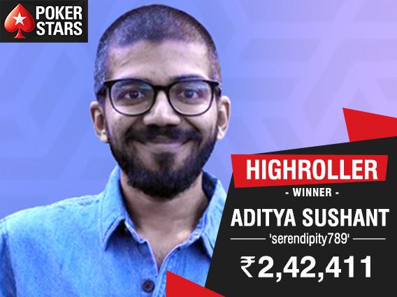 Aditya Sushant wins PokerStars Highroller 12 Lakhs GTD