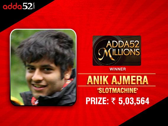 Anik Ajmera wins Adda52 Millions for INR 5 lakh