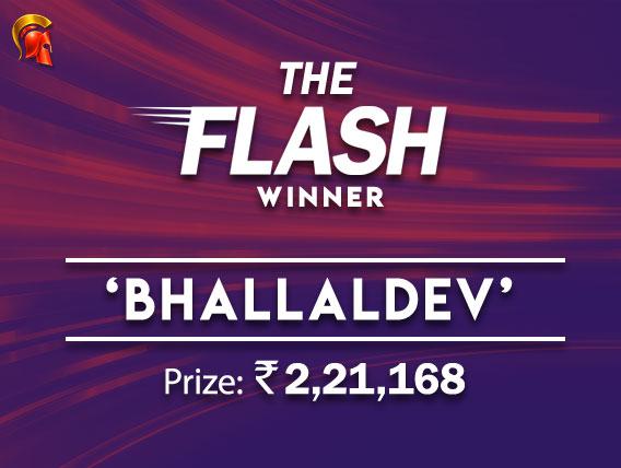 Bhallaldev wins The Flash on The Spartan Poker