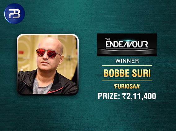 Bobbe Suri ships Endeavour Tournament on PokerBaazi