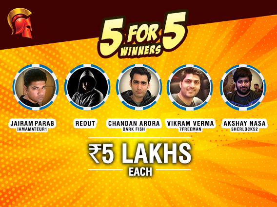 Five players take away 5L each in October's 5 for 5
