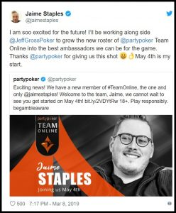 Jaime Staples to join partypoker Team Online on 4th May 1