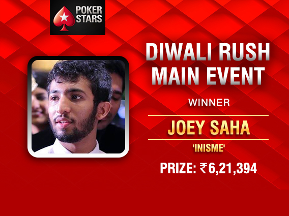 Joey Saha wins Diwali Rush Main Event on PokerStars