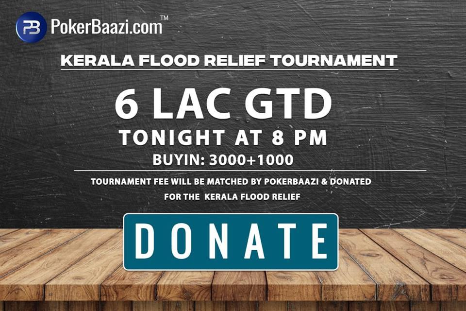 PokerBaazi to host Kerala Flood Relief Tournament Tonight