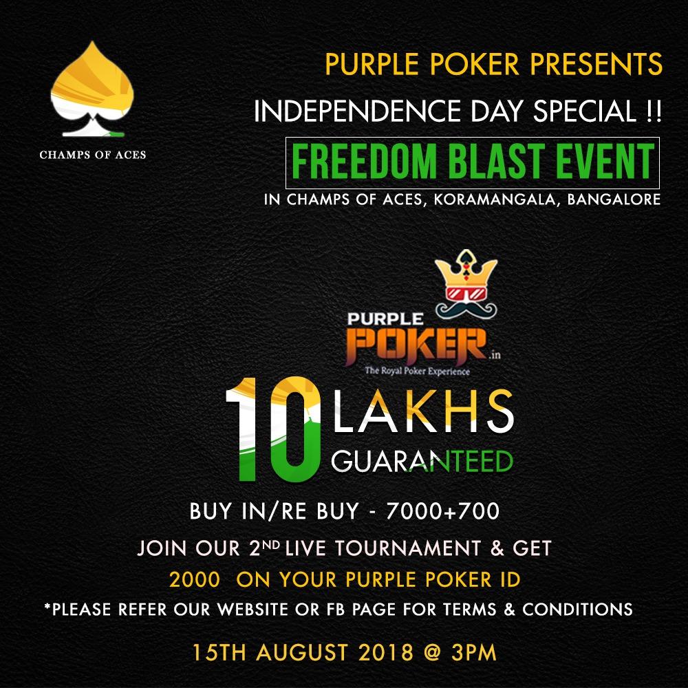 Purple poker to host live poker tournament in Bangalore