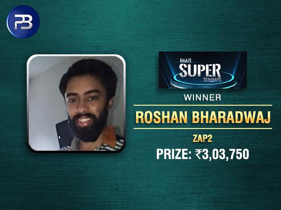Roshan Bharadwaj wins BSS Superstack on PokerBaazi