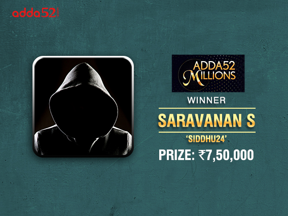 Saravanan S claims Adda52 Millions title